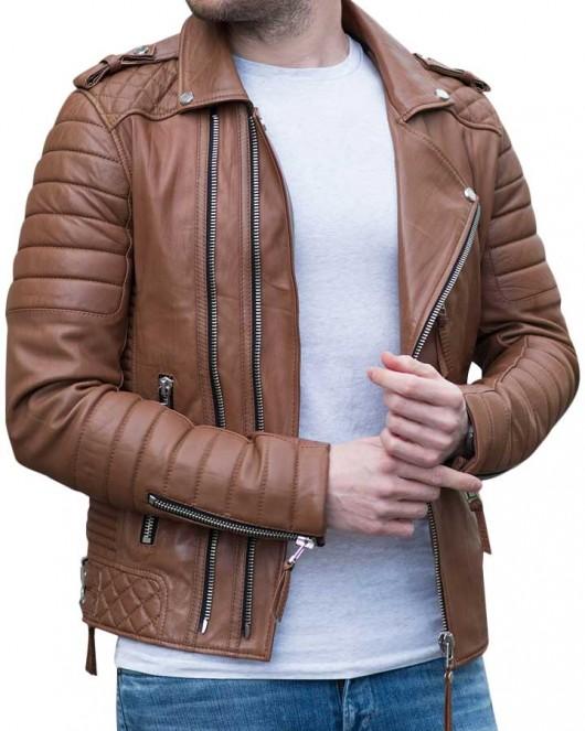 Mens Genuine Leather Jacket Brown Slim fit Motorcycle Jacket