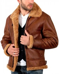 B3 Aviator Sheepskin WW2 Bomber Leather Pilot Jacket