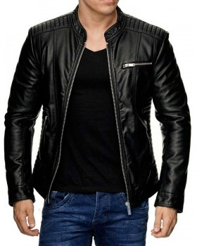 Mens Genuine Lambskin Leather Motorcycle Slim Fit Jacket