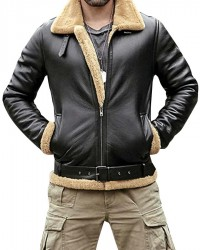 B3 Black Bomber Winter Fur Sheepskin Leather Jacket