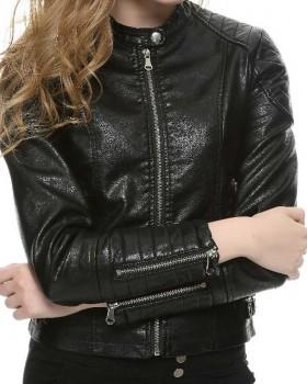Women Elegant Zipper Slim Fit Leather Biker Jacket