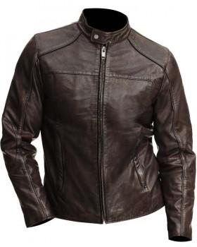 Vintage Style Dark Brown Waxed Leather Jacket