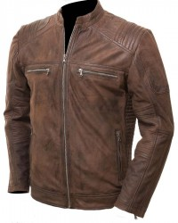 Mens Brown Distressed Motorcycle Leather Jacket
