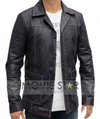 Fight Club Brad Pitt Black Leather Coat