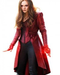 Elizabeth Olsen Scarlet Witch Red Leather Trench Coat