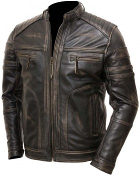 Mens Vintage Distressed Brown Real Leather Four Pocket Jacket